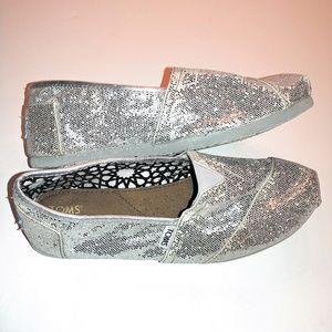 Toms Shoes - Silver Sparkle Toms Canvas Size 9